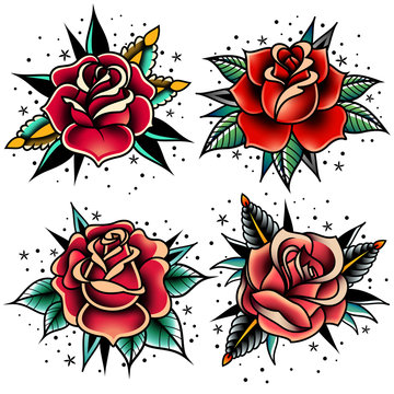 old school tattoo roses set