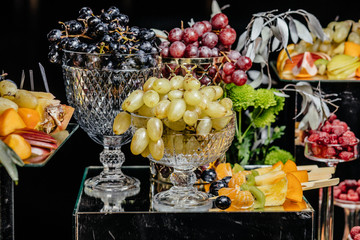 many different fruits an the wedding reception.
