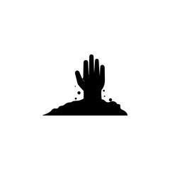 Zombie hand, halloween icon