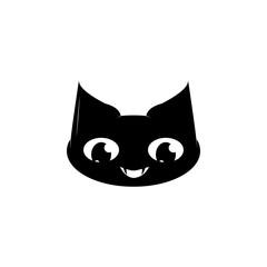 Cartoon black cat face icon