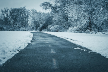 Curved asphalt path in snow covered outdoor park setting. Abstract running path in treelined pathway. Abstract color and nature background.