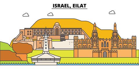 Israel, Eilat outline city skyline, linear illustration, line banner, travel landmark, buildings silhouette,vector
