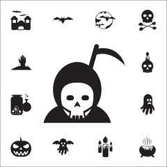 Hallowen Grim Reaper icon. Set of Halloween icons