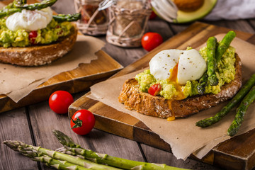 poached eggs on multiseed bread landscape