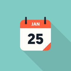 Calendar icon 2018 flat design with long shadow