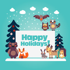 Holiday lovely vector card with funny cute animals, blue sky, snowflakes, clouds and Christmas trees decorating with holiday toys. Christmas and New Year vector illustration. Funny winter background