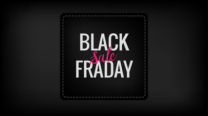 Black friday sale square promotion banner with hand lettered element on the black background. Discount, business, shopping, promotion and advertising concept. Vertical design with copy space.