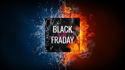 Black friday sale advertising banner with hand lettered element on the background with fire flame, water splashes and lightning. Discount, shopping, promotion concept. Vertical design with copy space.