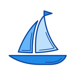 Sailboat line icon isolated on white background. Sailboat line icon for infographic, website or app. Blue icon designed on a grid system.