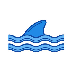 Shark fin above water line icon isolated on white background. Shark fin line icon for infographic, website or app. Blue icon designed on a grid system.