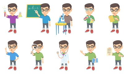 Little caucasian boy set. Boy holding test tube, beaker, microscope, book, magnifying glass, writing on classroom blackboard. Set of vector sketch cartoon illustrations isolated on white background.
