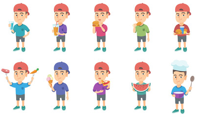 Little caucasian boy set. Boy drinking orange juice, eating hamburger, chicken drumstick, pizza, cheeseburger, french fries. Set of vector sketch cartoon illustrations isolated on white background.