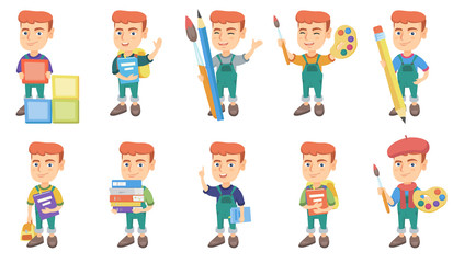 Little caucasian boy set. Boy playing with building cubes, holding pencil, palette, paintbrush, pile of textbooks, waving. Set of vector sketch cartoon illustrations isolated on white background.