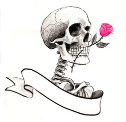 skeleton with a rose