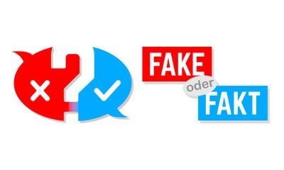 Fake oder Fakt - Button in Rot und Blau