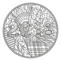 Mandala with owl. Design Zentangle. Hand drawn abstract patterns on isolation background. Design for spiritual relaxation for adults.  Black and white illustration for coloring. Zen art