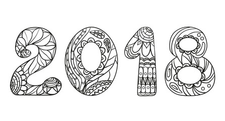 2018 Numbers. Zentangle. Hand drawn numbers with abstract patterns on isolation background. Design for spiritual relaxation for adults. Line art creation. Black and white illustration for coloring.