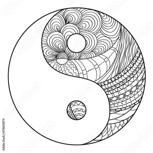 """yin and yang zentangle hand drawn mandala on isolation"