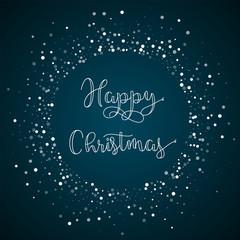 Happy Christmas greeting card. Random falling white dots background. Random falling white dots on blue background.great vector illustration.