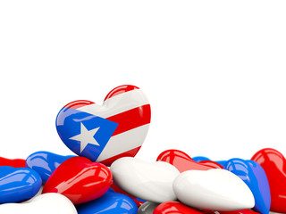 Heart with flag of puerto rico