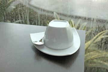 coffee mug on a table.