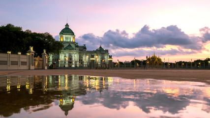 Bangkok City - Dusit Palace , Ananta Samakom Throne Hall in Bangkok , beautiful sunset , Landscape Thailand