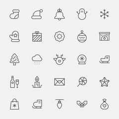 christmas line icon object vector flat design illustration set