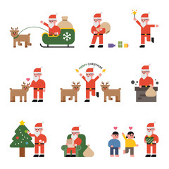 Various activities of Santa Claus and reindeer vector flat design illustration set