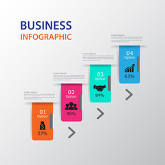 Modern infographics process  with connected , icons and text for 4 steps.