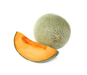Ripe melons on white background