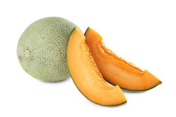 Sliced ripe melons on white background