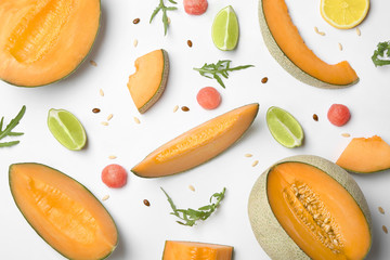 Fototapete - Sliced ripe melon on white background
