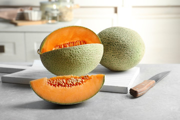 Fresh ripe melons on kitchen table