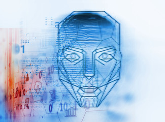 Wall Mural - graphic face on abstract technology background