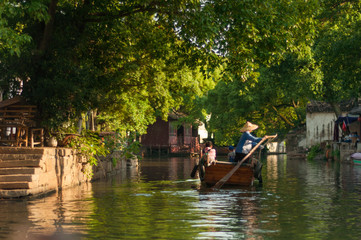 boat tour in Chinese old village by canal