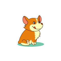 Cute dog of welsh corgi. Vector illustration of nice puppy. For cards, pet shops and veterinary clinics design.