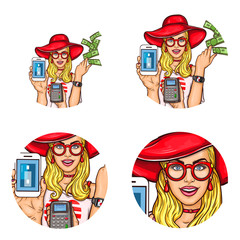 Set of vector pop art round avatar icons for users of social networking, blogs, profile icons. Young blond girl in a red hat and glasses demonstrates the ease of using electronic payments