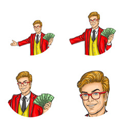 Set of vector pop art round avatar icons for users of social networking, blogs, profile icons. Businessman, manager, host, owner demonstrates cash banknotes and makes inviting gesture with his arm