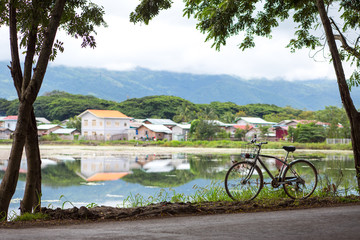 Myanmar, Inle lake,8 October,2017:  The bicycle stay near city of Nyaungshwe at the Inle Lake in the Shan State