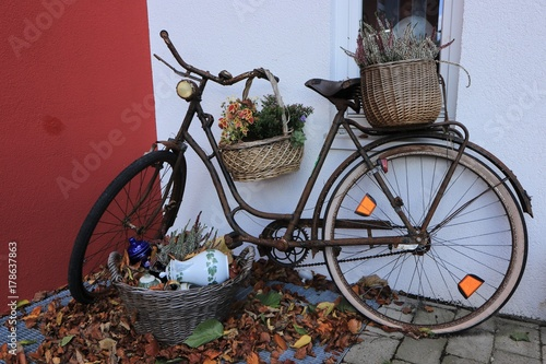 Verrostetes Altes Fahrrad Mit Korben Und Herbstlichen Pflanzen