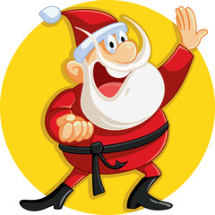 Karate Santa Claus Ready for Christmas Vector Cartoon
