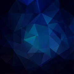 Abstract mosaic background. Triangle geometric background. Design elements. Vector illustration. Dark blue color.
