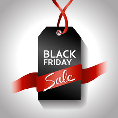Black friday gradient tag with red ribbon. Sale