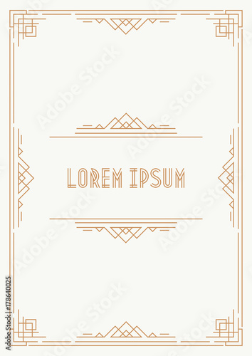 Greeting Card Template Art Deco Style With Gold Frame On White