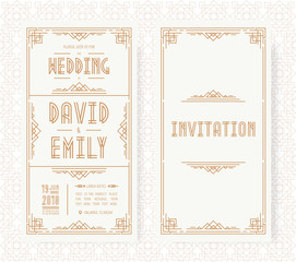 Wedding invitation card set art deco style gold color on white background with frame. Greeting card. Vector Illustration
