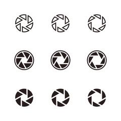 Camera icon logo design set silhouette