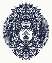 Mayan tattoo and t-shirt design. Ancient aztec totem, Mexican god. Ancient Mayan civilization. Indian mayan carved in stone tattoo art