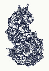 Magic cat tattoo and t-shirt design. Ornamental cat, renaissance style, art nouveau. Cat tattoo art
