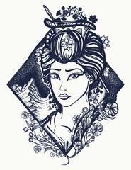 Geisha tattoo and t-shirt design. Symbol of Asia, Japan, China. Portrait of Maiko geisha tattoo art