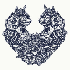 Two cats in the form of heart tattoo and t-shirt design. Symbol of love, feeling, love, passion. Two cats ornamental style, tattoo for woman